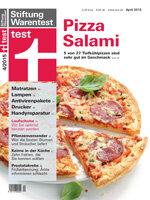 Heft 04/2015 Pizza Salami im Test: 5 von 27 Tiefkühlpizzen sehr gut im Geschmack