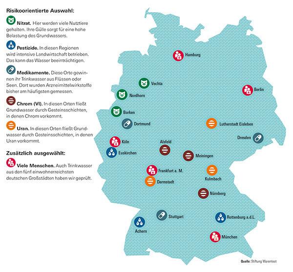 leitungswasserqualität deutschland karte Trinkwasser im Test   Wasser aus 20 Städten und Gemeinden auf dem