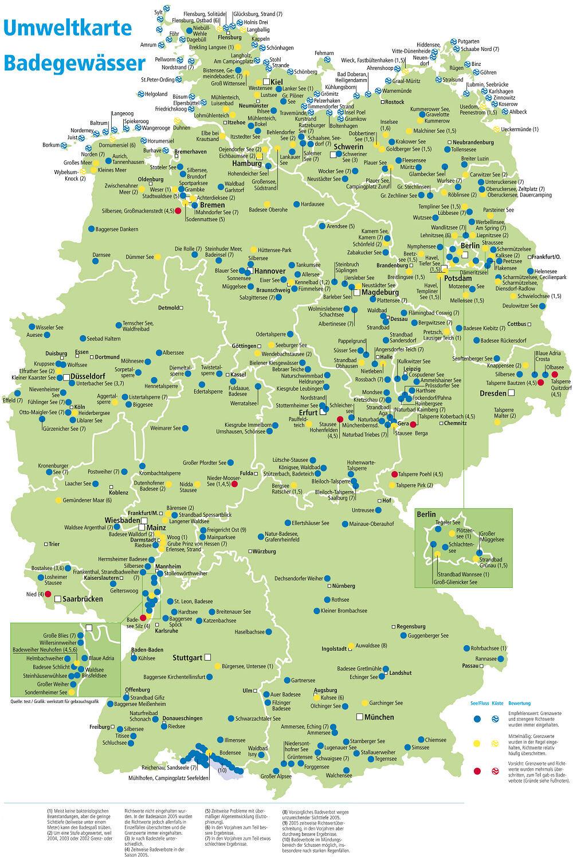 seen in deutschland karte 400 Seen und Badestellen im Check   Klare Sache   Stiftung Warentest seen in deutschland karte
