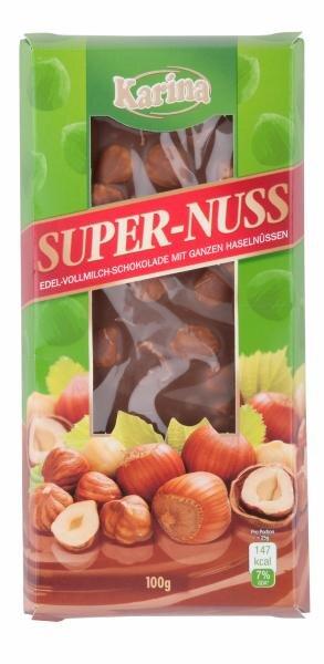 Karina Super-Nuss Edel-Vollmilch-Schokolade mit ganzen Haselnüssen Hauptbild