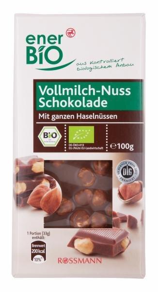 Rossmann/EnerBio Vollmilch-Nuss Schokolade Mit ganzen Haselnüssen, Bio Hauptbild