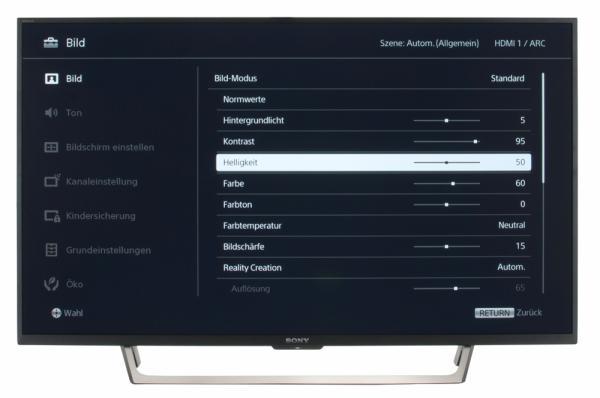 Sony KDL-43WE755 Bildschirmmenü