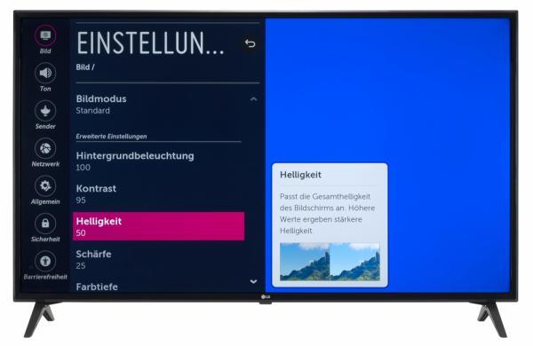 LG 50UK6300 Bildschirmmenü