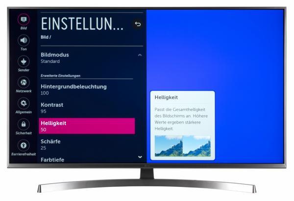 LG 49UK7550 Bildschirmmenü