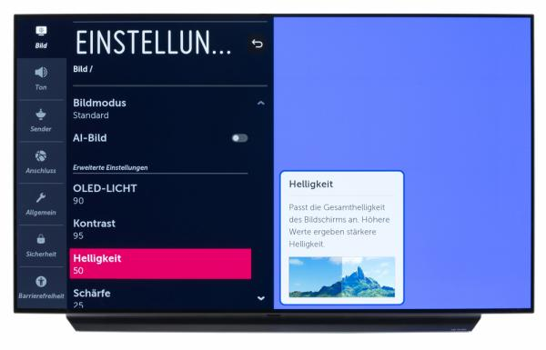 LG OLED55C97LA Bildschirmmenü