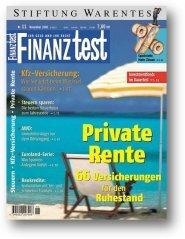 Heft 11/2000 Private Rentenversicherung: 132 Angebote im Test